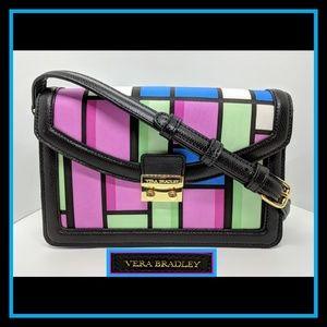 Vera Bradley Crossbody Pink Blue Green LeatherTrim